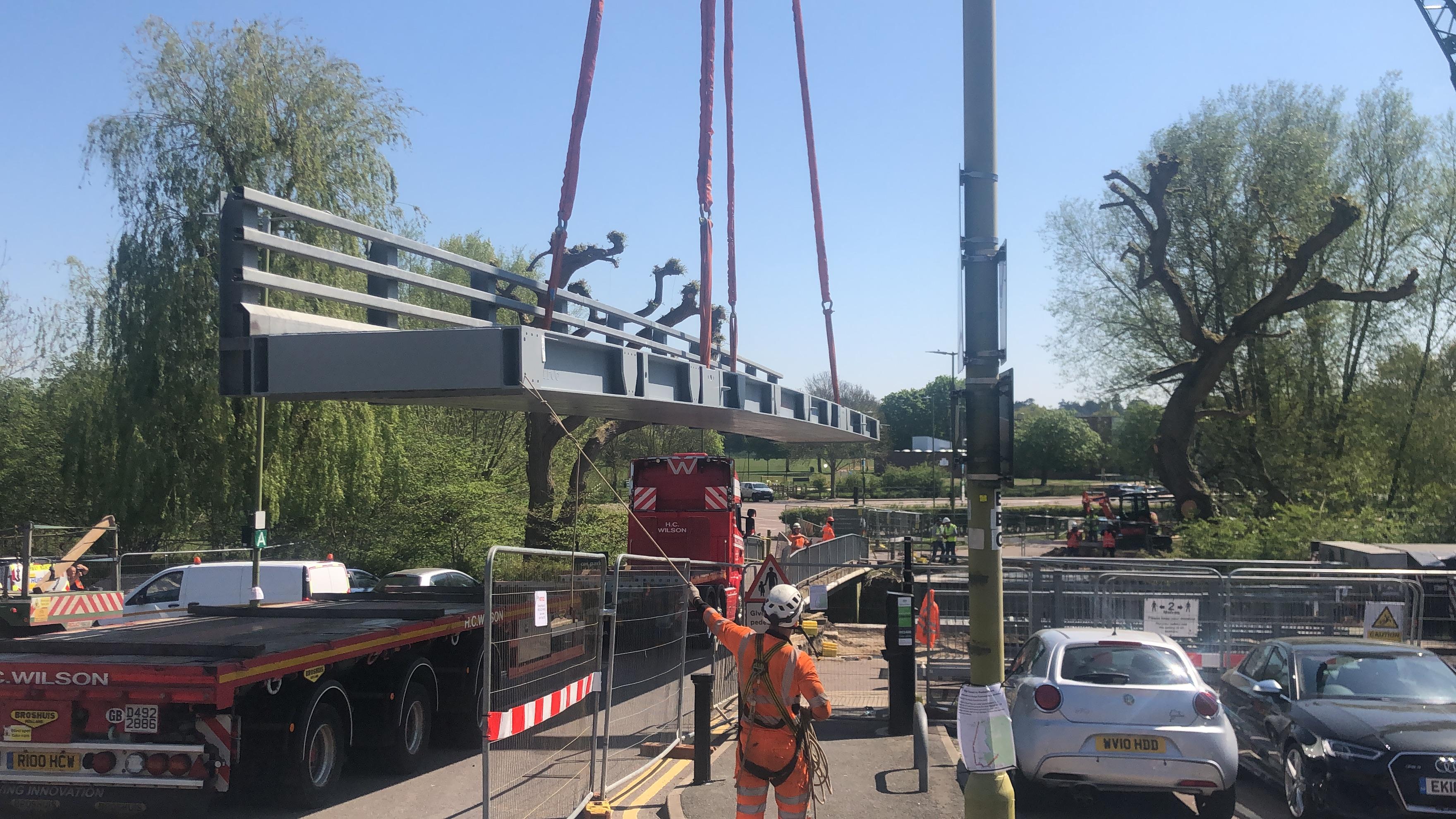 Bridge being removed