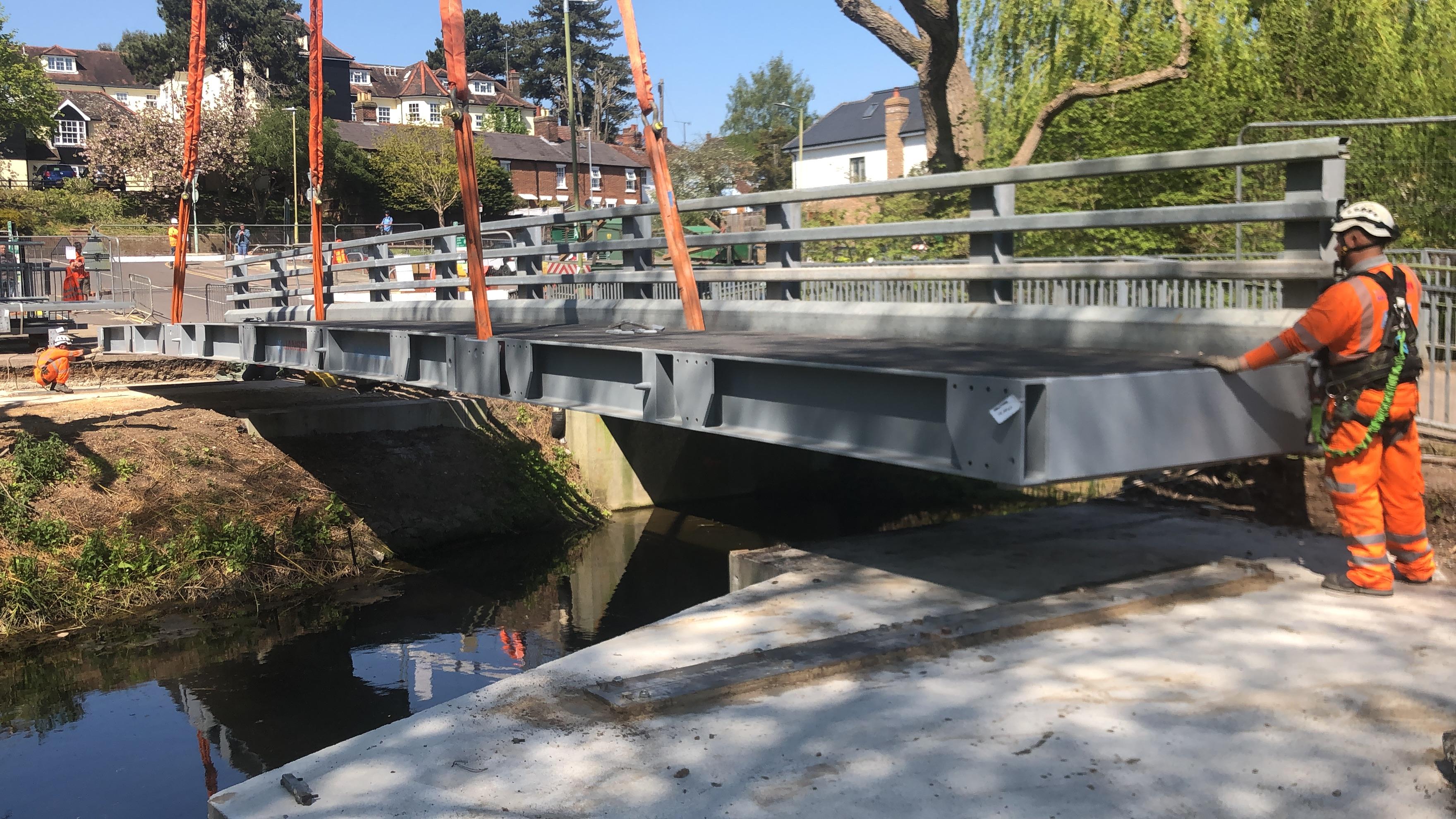 Temporary bridge being installed