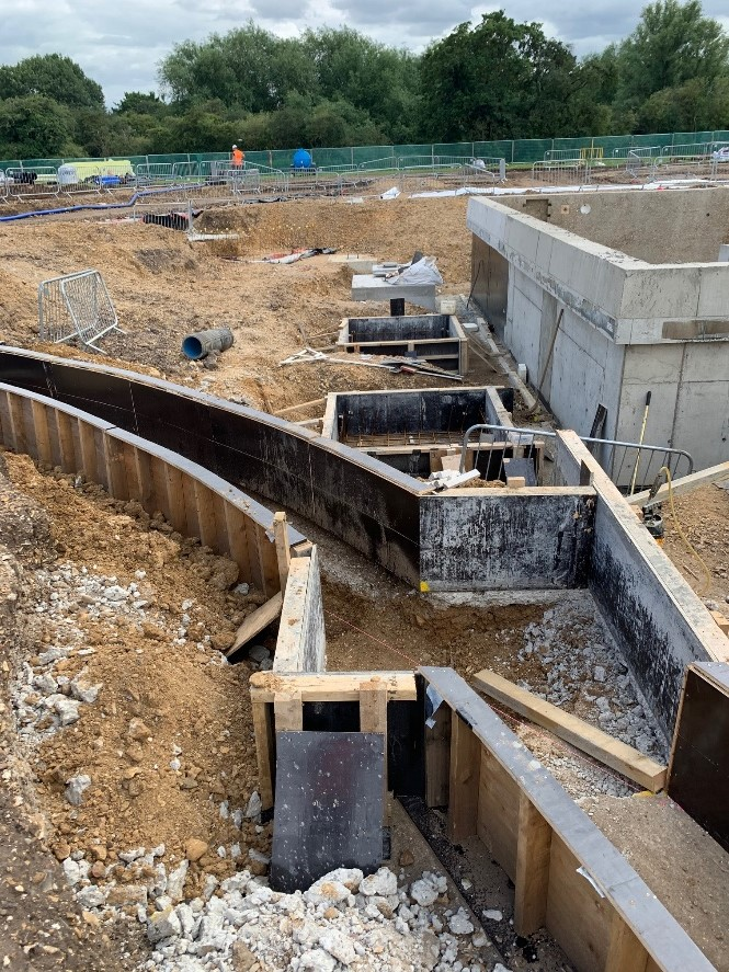Ground beams ready for completion for the new site