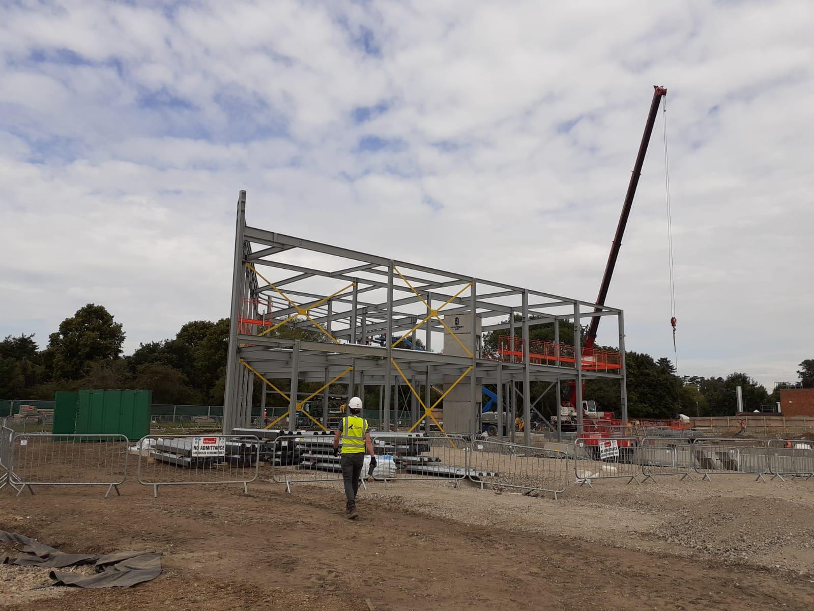 Steel works going in at Grange Paddocks