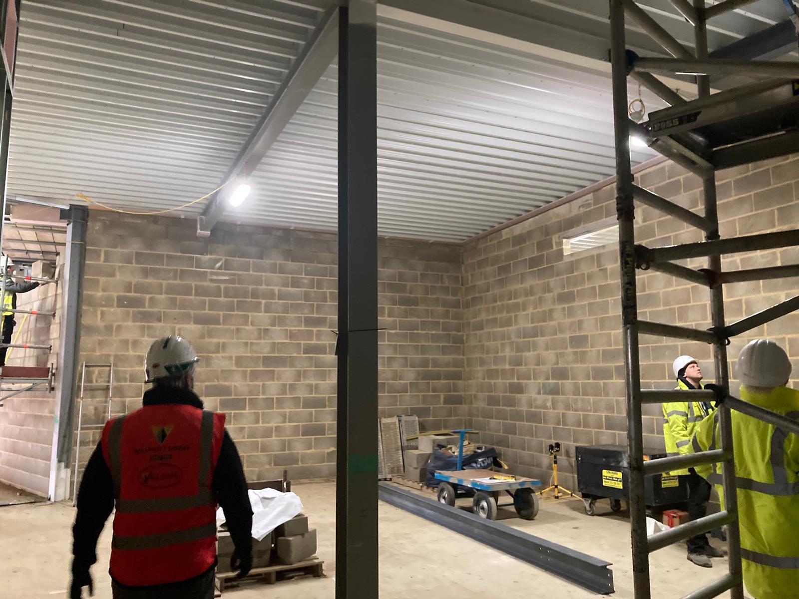 Block work progressing indoors