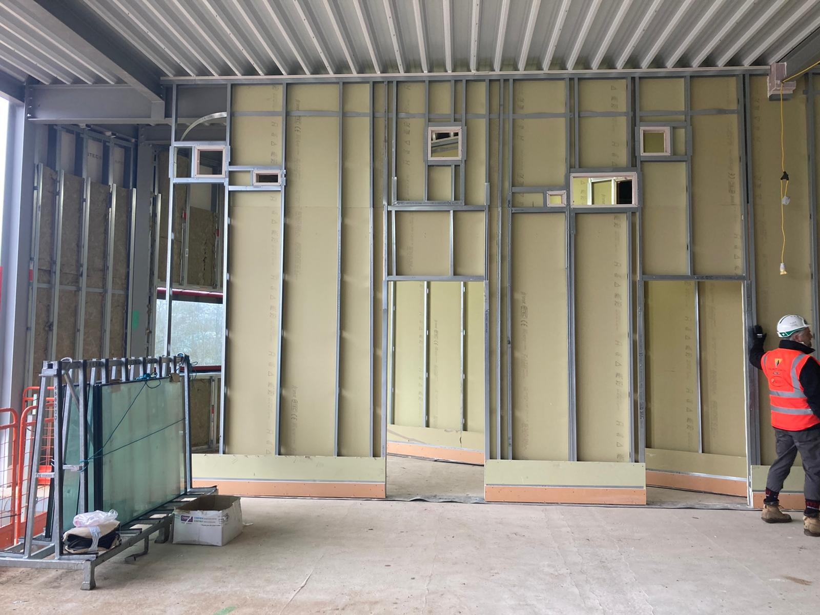 Internal partitions going in
