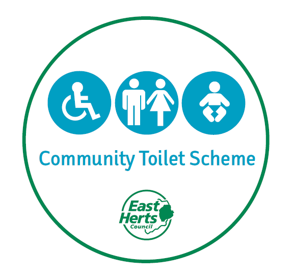 Community toilet scheme written in a circle with green East Herts Council logo and 3 toilet symbols (accessible, men/women and baby change)