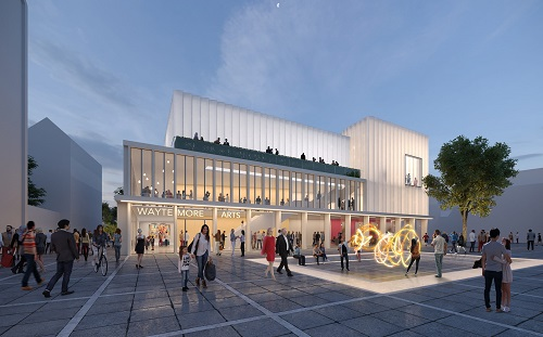 An artists impression of the arts centre development for Old River Lane