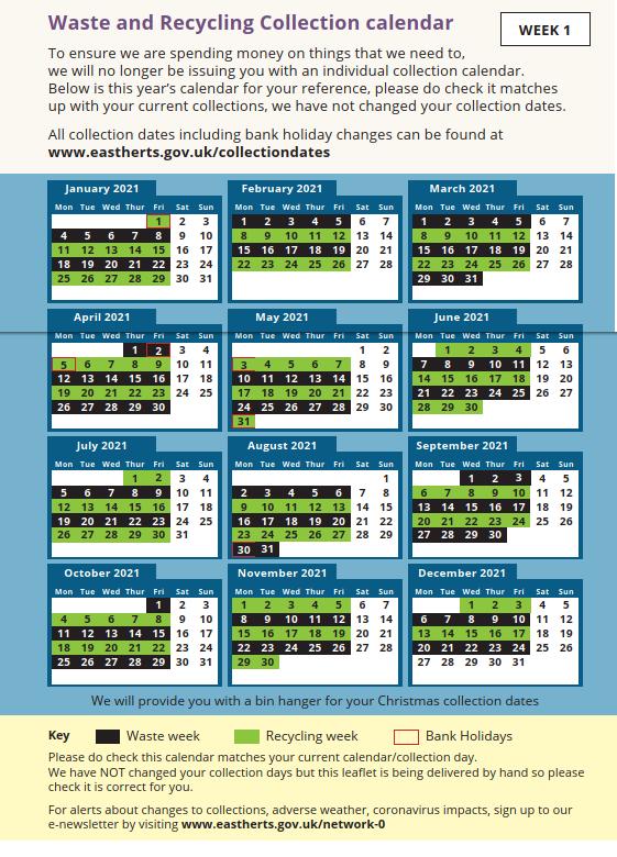 week 1 - bin collection schedule timetable