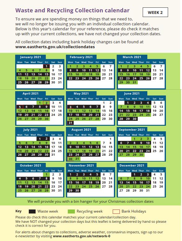 week 2 - bin collection schedule timetable