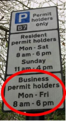 Permit holders street sign ' Business permit holders Mon - Fri 8am - 6pm' circled in red.