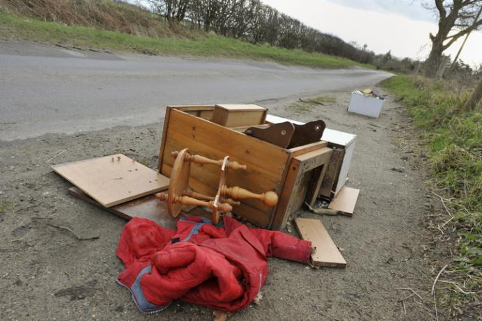 A fly-tipped heap by the roadside