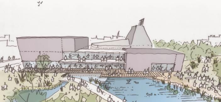 Artist illustrative impression of Hertford Theatre expansion plans