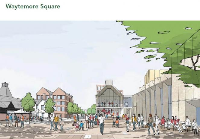 Artists impression drawing of Waytemore Sq