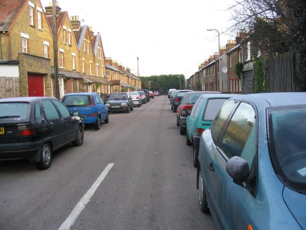 Cars parked on residential street - Elm Grove