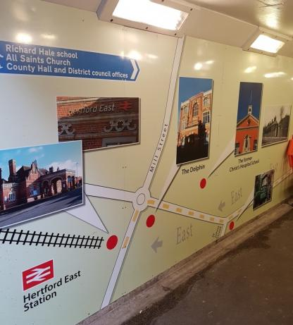 Town map mural on wall of Hertford subway