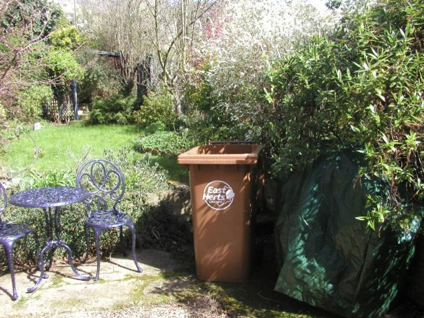 East Herts brown bin in garden