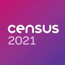 "white and purple ""Census 2021"" text on purple background"