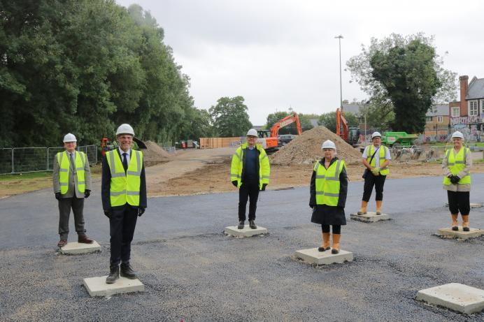 Cllr Linda Haysey at the Northgate End construction site