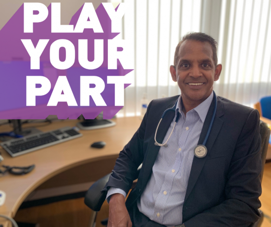 "Doctor with ""Play your part"" slogan in purple and white"