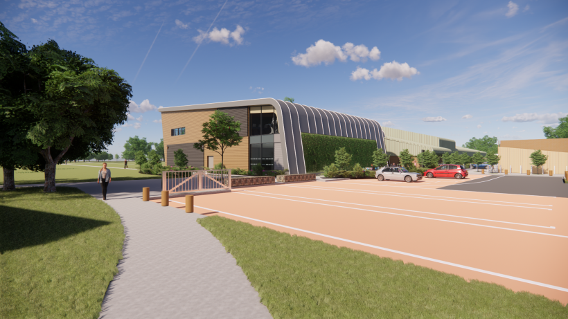 Artist impression of the approach to the entrance at Hartham Leisure Centre