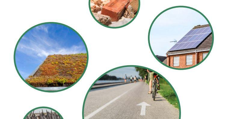Snip of document front page showing bubbles with green roof, bricks, cyclist and solar panel