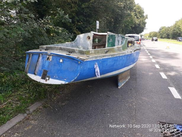 Flytipped boat in Buntingford