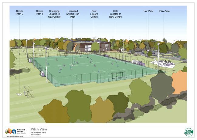 Proposed 3G pitch view at Grange Paddocks