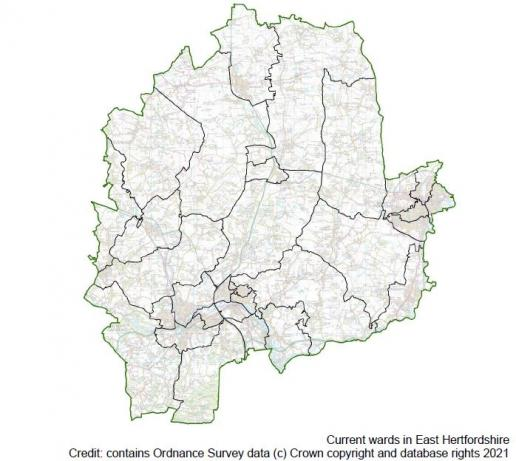 Map showing ward boundaries in East Herts District